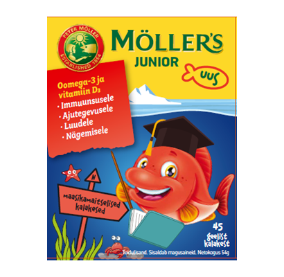 Möller`s JUNIOR maasikamaitselised geelkalakesed N45